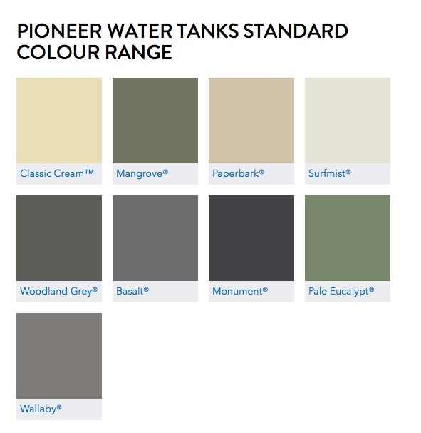 Pioneer Water Tanks Colourbond Colours